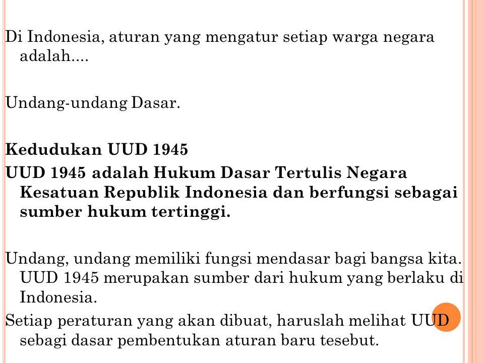 Di Indonesia, aturan yang mengatur setiap warga negara adalah
