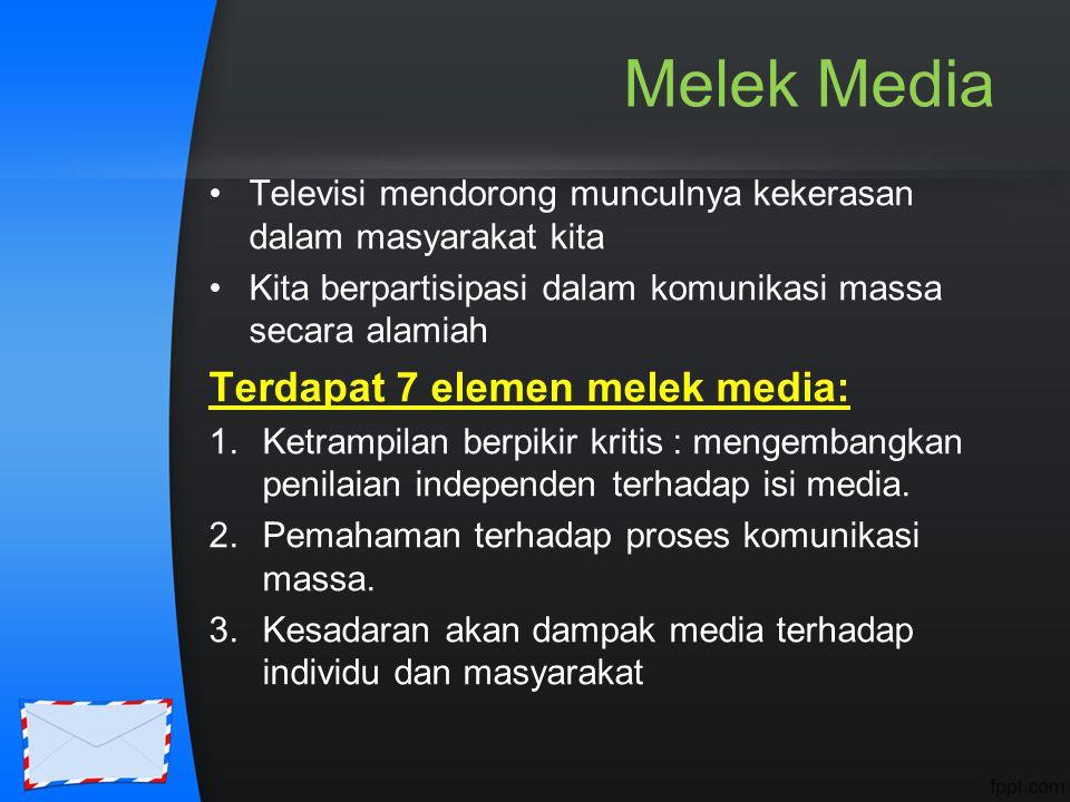 Melek Media Terdapat 7 elemen melek media: