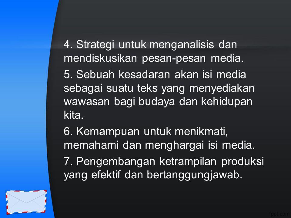 4. Strategi untuk menganalisis dan mendiskusikan pesan-pesan media. 5