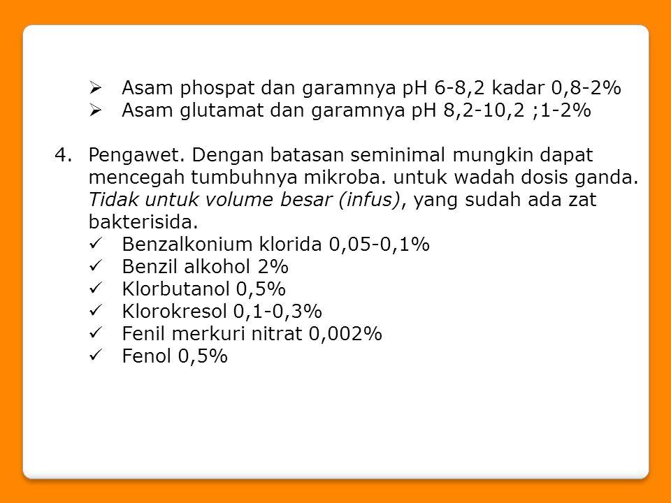 Asam phospat dan garamnya pH 6-8,2 kadar 0,8-2%