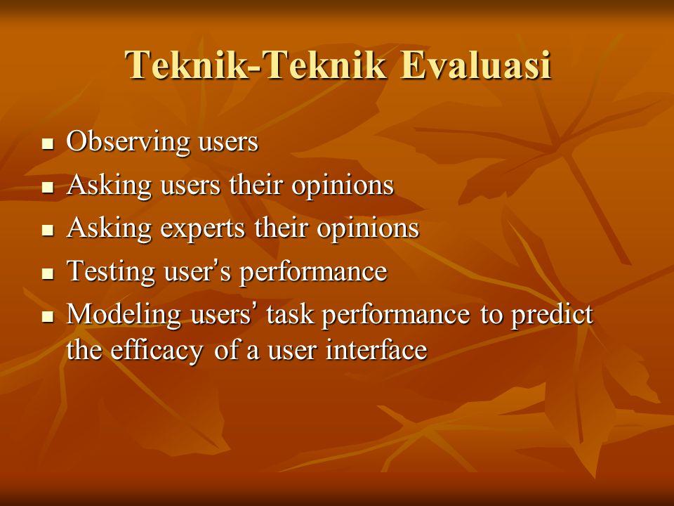 Teknik-Teknik Evaluasi