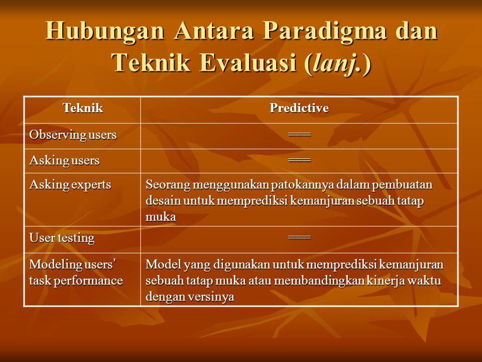 Hubungan Antara Paradigma dan Teknik Evaluasi (lanj.)