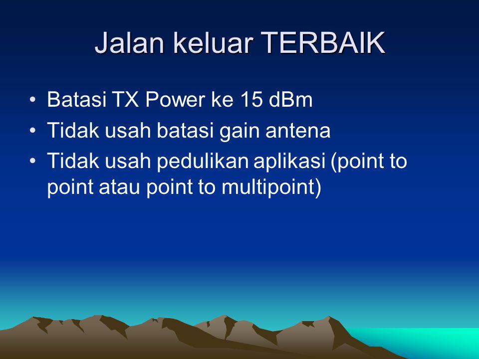 Jalan keluar TERBAIK Batasi TX Power ke 15 dBm
