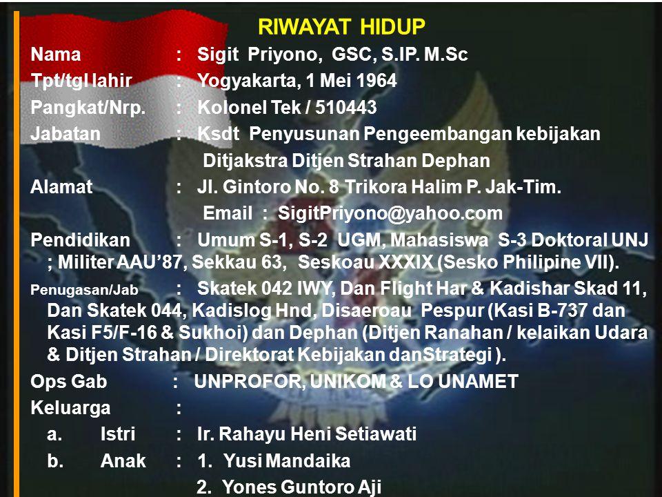 RIWAYAT HIDUP Nama : Sigit Priyono, GSC, S.IP. M.Sc