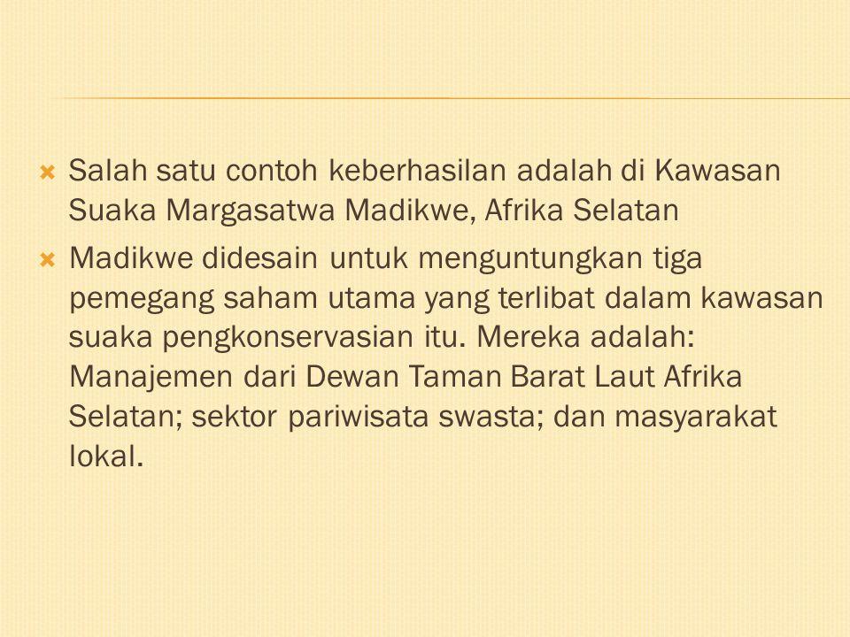 Salah satu contoh keberhasilan adalah di Kawasan Suaka Margasatwa Madikwe, Afrika Selatan
