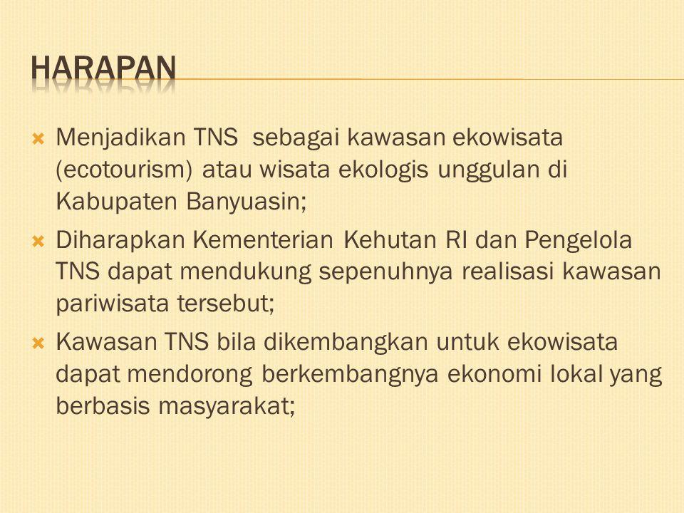 HARAPAN Menjadikan TNS sebagai kawasan ekowisata (ecotourism) atau wisata ekologis unggulan di Kabupaten Banyuasin;