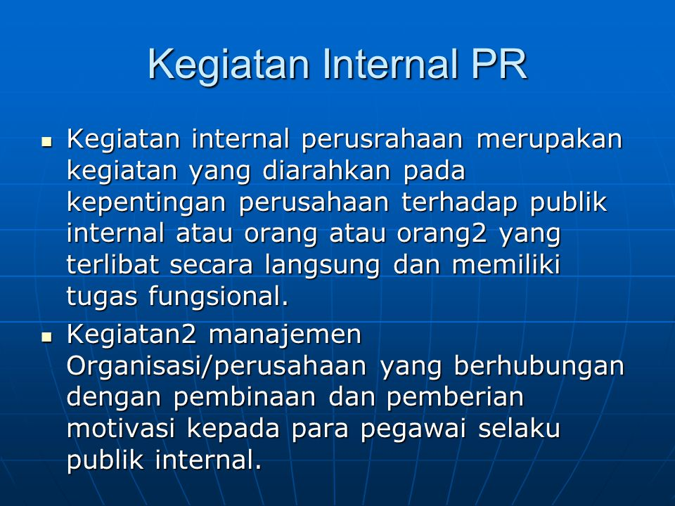 Kegiatan Internal PR