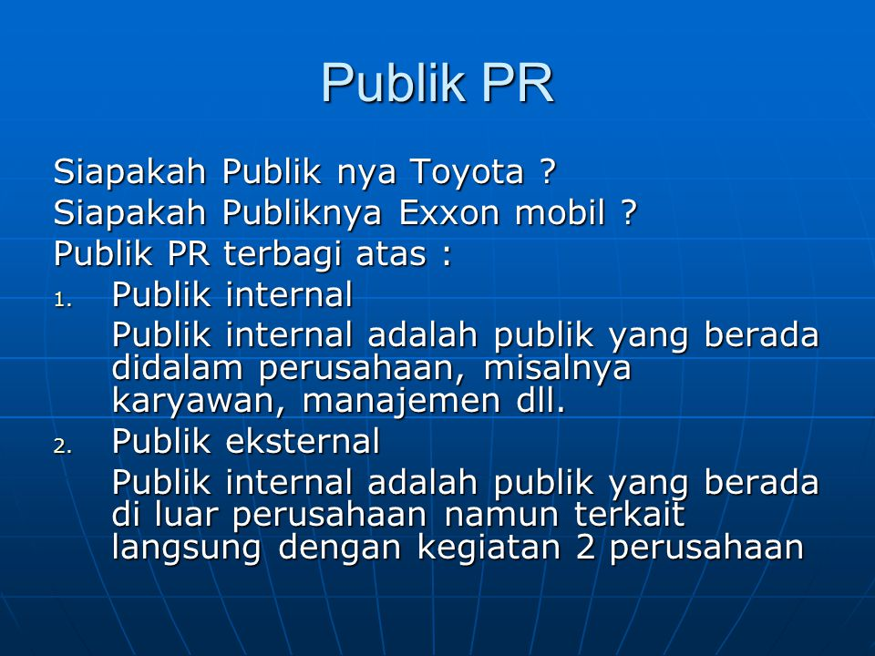 Publik PR Siapakah Publik nya Toyota
