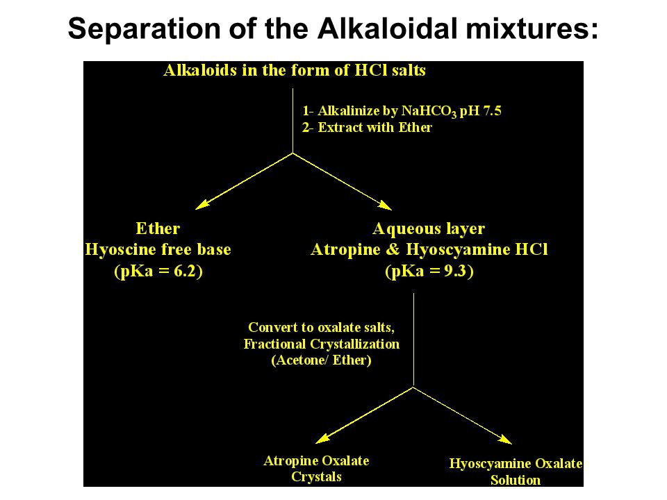 Separation of the Alkaloidal mixtures: