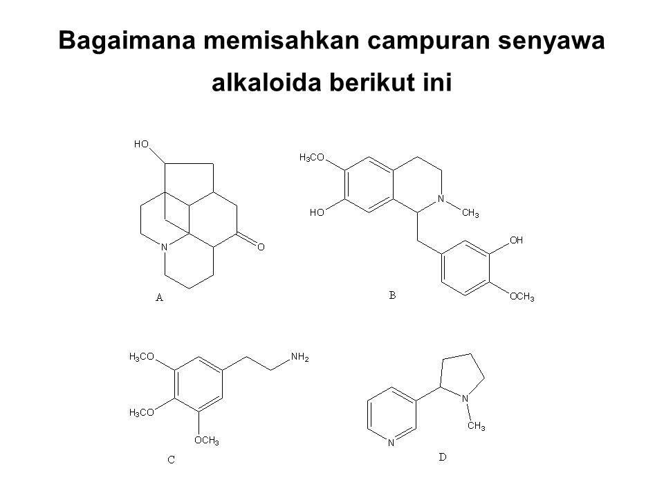 Bagaimana memisahkan campuran senyawa alkaloida berikut ini