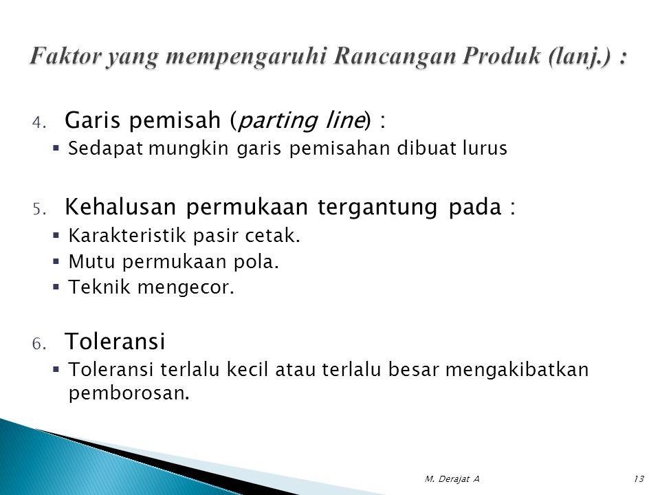Faktor yang mempengaruhi Rancangan Produk (lanj.) :