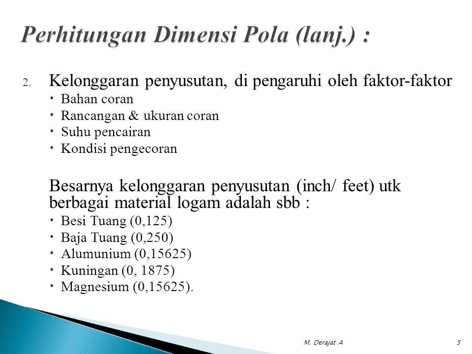 Perhitungan Dimensi Pola (lanj.) :
