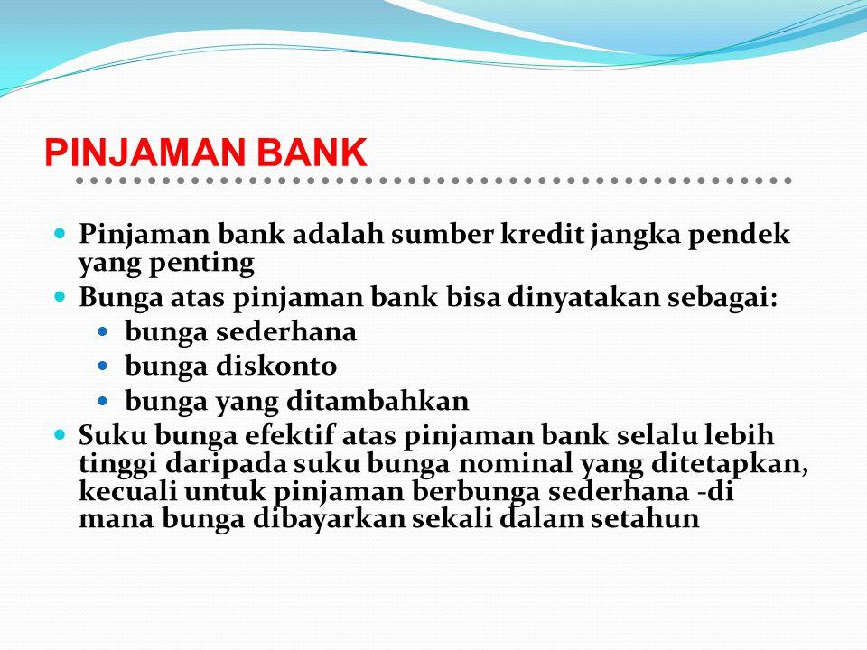 PINJAMAN BANK Pinjaman bank adalah sumber kredit jangka pendek yang penting. Bunga atas pinjaman bank bisa dinyatakan sebagai: