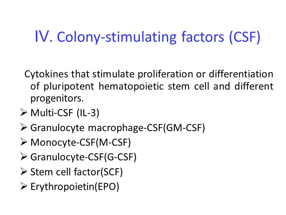 Ⅳ. Colony-stimulating factors (CSF)