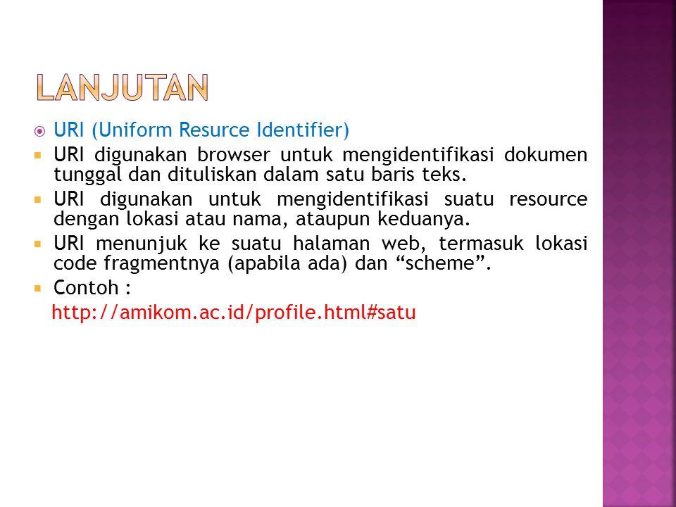 LANJUTAN URI (Uniform Resurce Identifier)