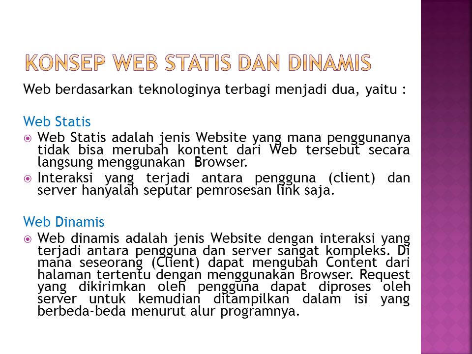 Konsep web statis dan dinamis