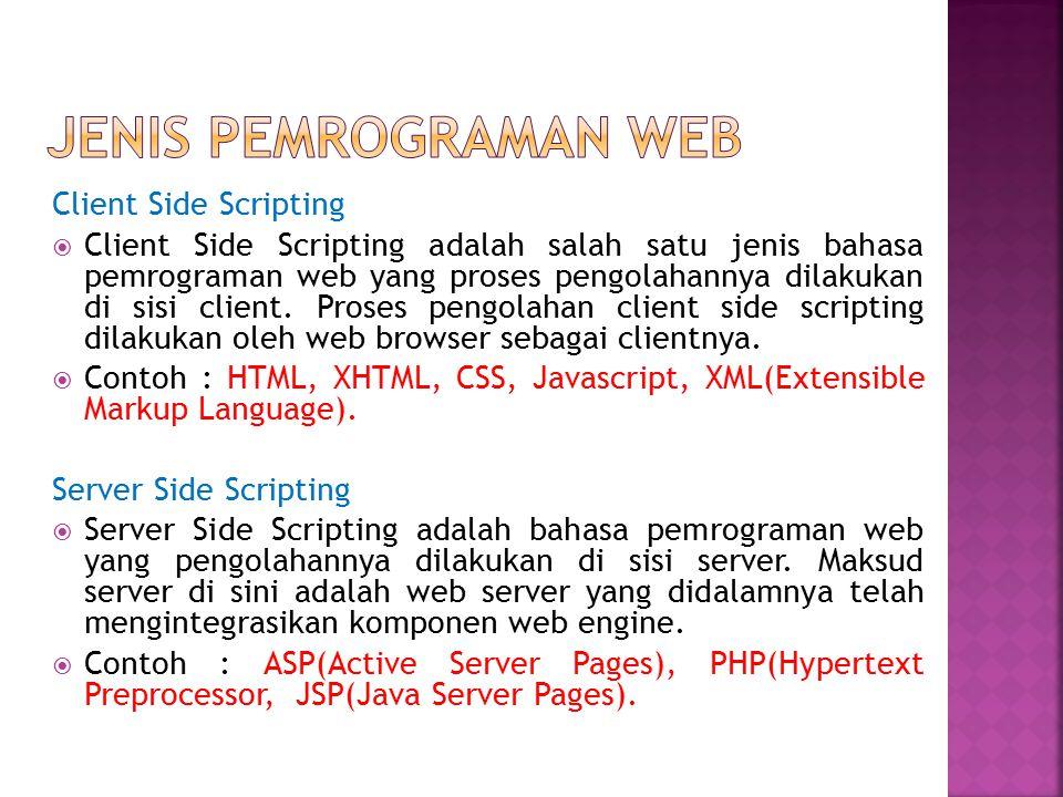 Jenis pemrograman web Client Side Scripting