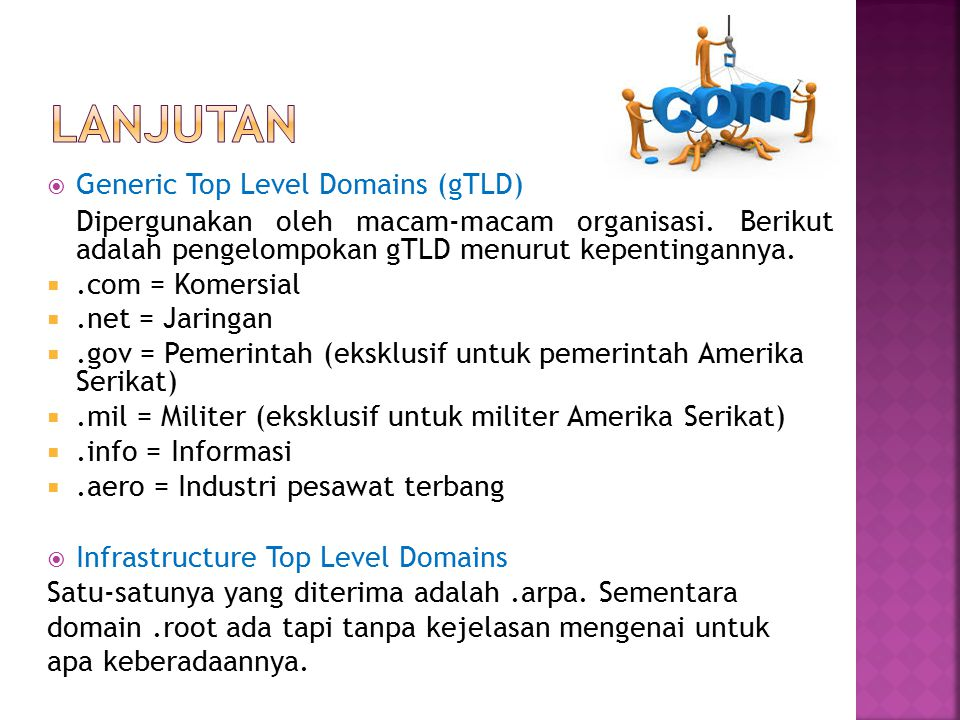 LANJUTAN Generic Top Level Domains (gTLD)