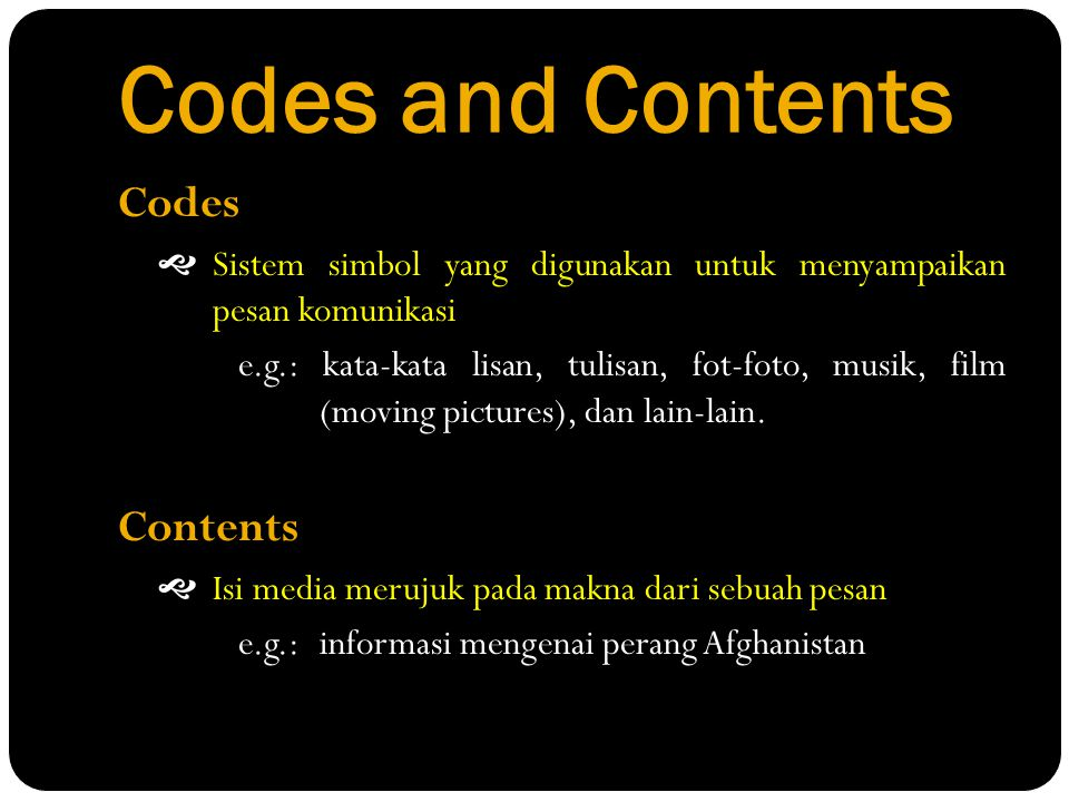 Codes and Contents Codes Contents