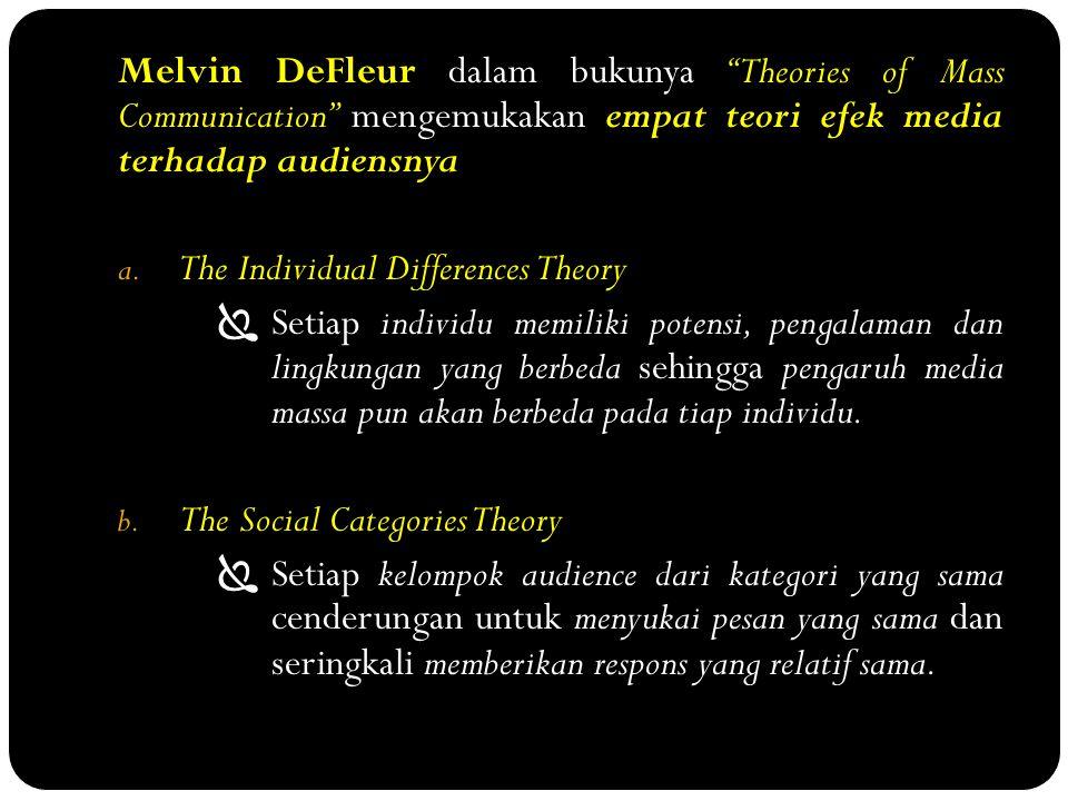 Melvin DeFleur dalam bukunya Theories of Mass Communication mengemukakan empat teori efek media terhadap audiensnya