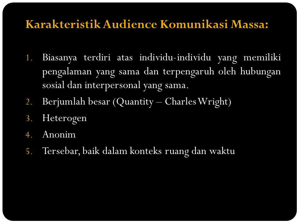 Karakteristik Audience Komunikasi Massa: