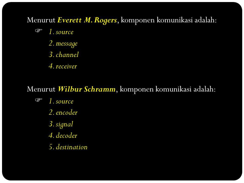 Menurut Everett M. Rogers, komponen komunikasi adalah:  1. source 2