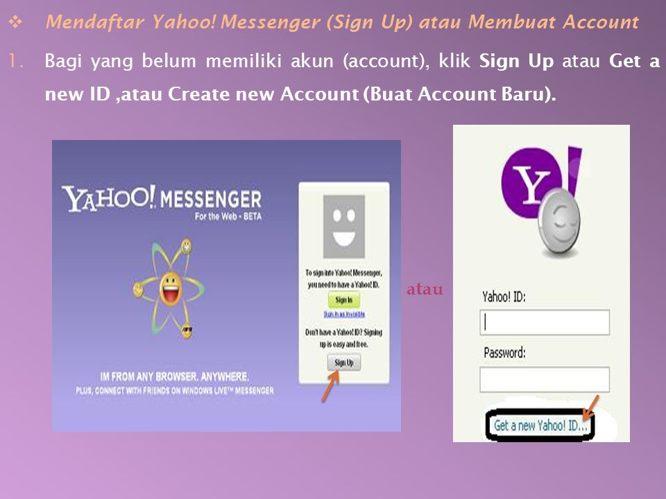 Mendaftar Yahoo! Messenger (Sign Up) atau Membuat Account
