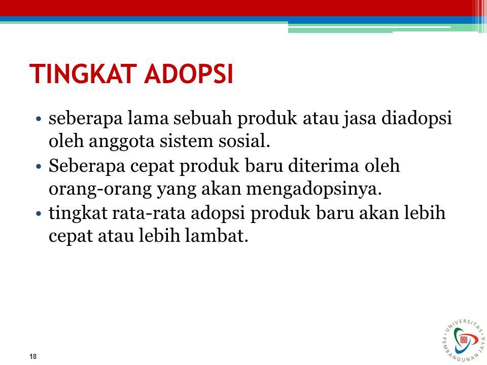 TINGKAT ADOPSI seberapa lama sebuah produk atau jasa diadopsi oleh anggota sistem sosial.