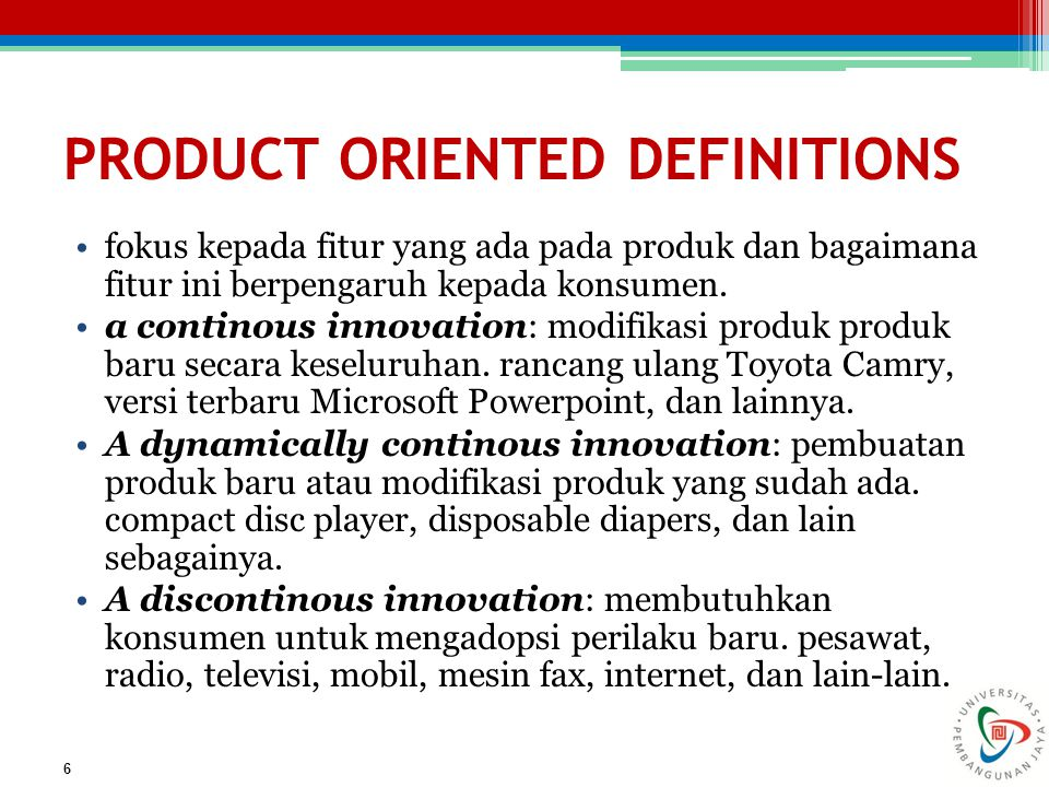 PRODUCT ORIENTED DEFINITIONS