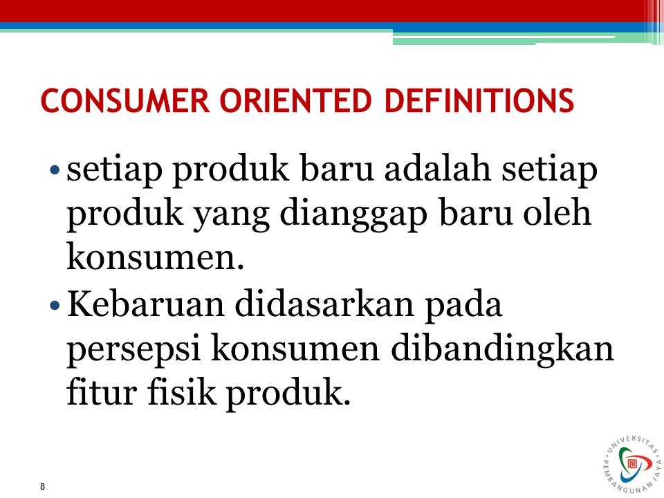 CONSUMER ORIENTED DEFINITIONS