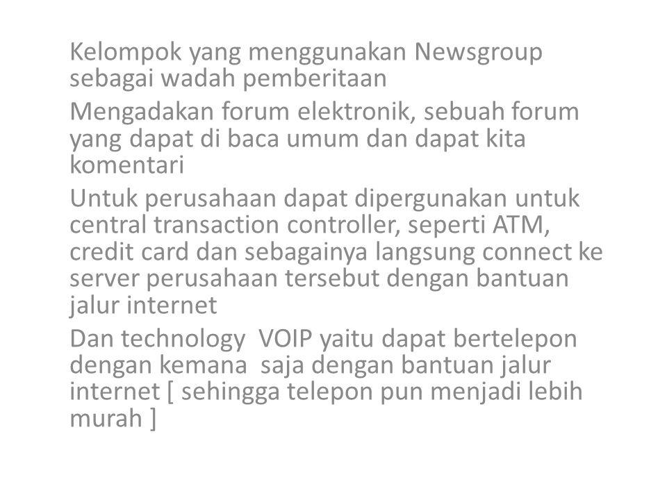 Kelompok yang menggunakan Newsgroup sebagai wadah pemberitaan