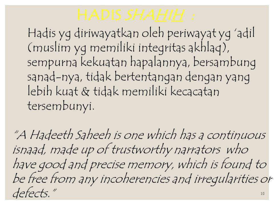 HADIS SHAHIH :