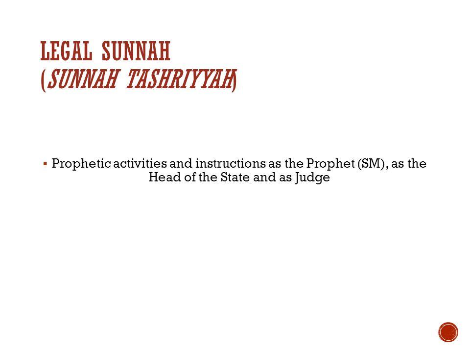 Legal Sunnah (Sunnah tashriyyah)