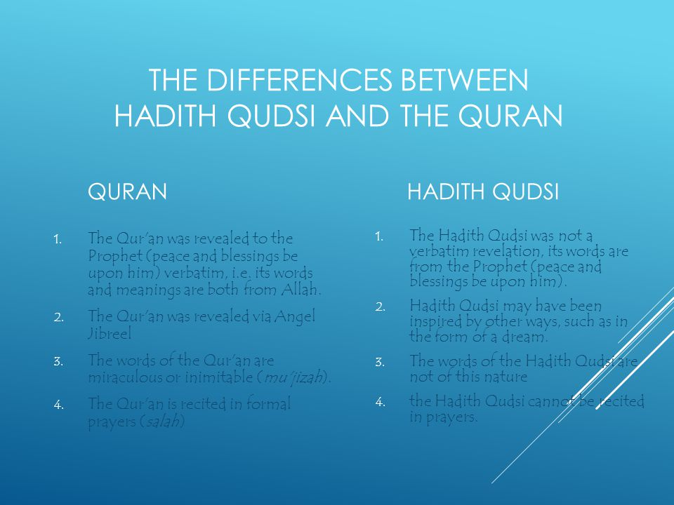 The differences between hadith qudsi and the quran