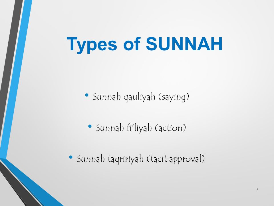 Types of SUNNAH Sunnah qauliyah (saying) Sunnah fi'liyah (action)