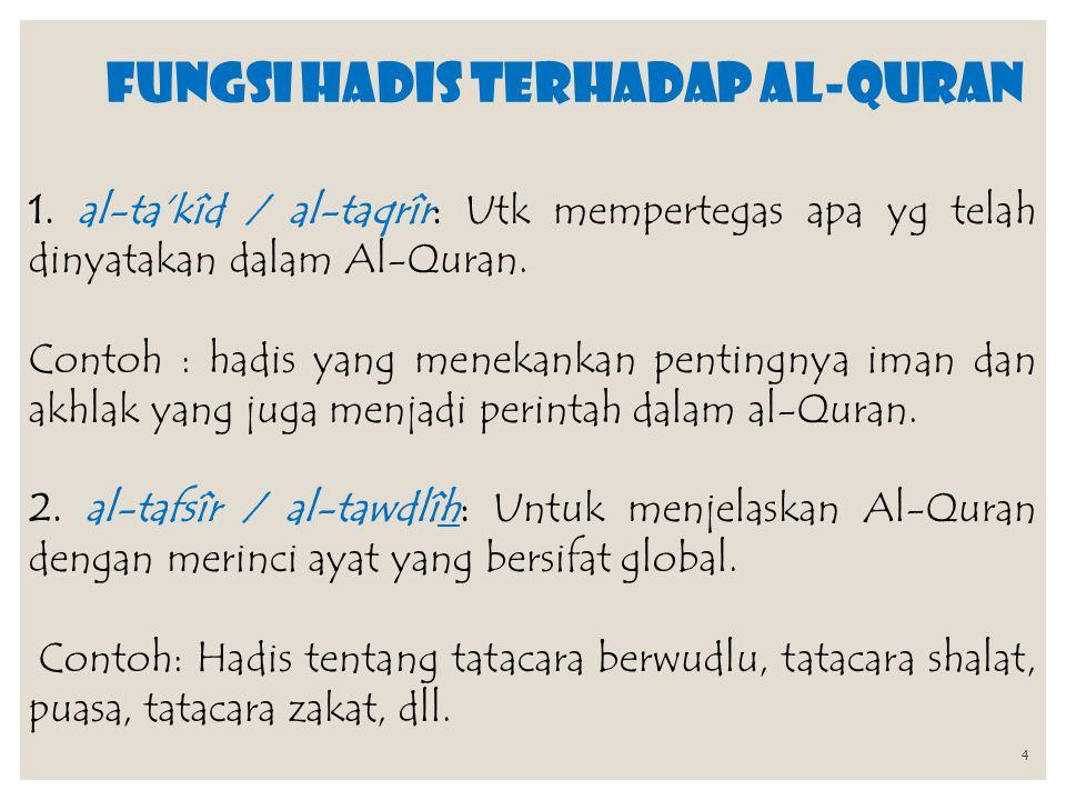 FUNGSI HADIS terhadap al-Quran