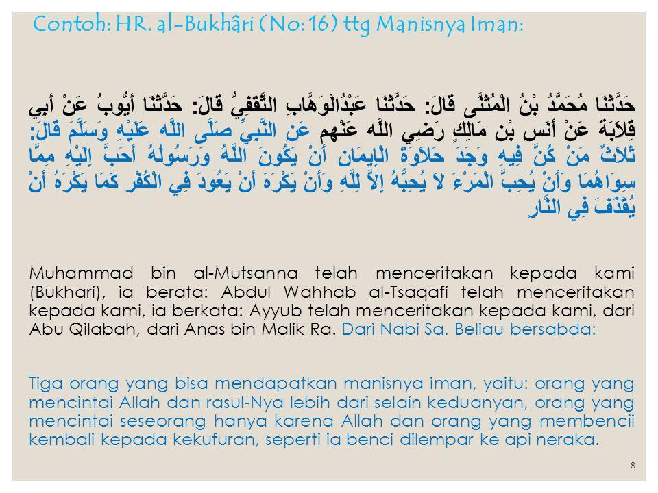 Contoh: HR. al-Bukhâri (No: 16) ttg Manisnya Iman:
