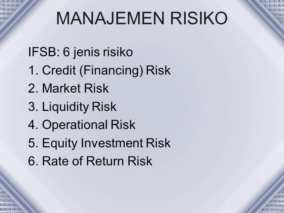 MANAJEMEN RISIKO IFSB: 6 jenis risiko 1. Credit (Financing) Risk
