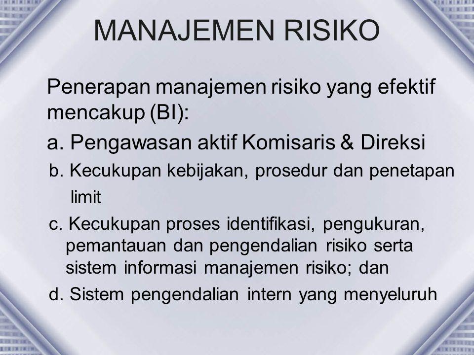 MANAJEMEN RISIKO Penerapan manajemen risiko yang efektif mencakup (BI): a. Pengawasan aktif Komisaris & Direksi.
