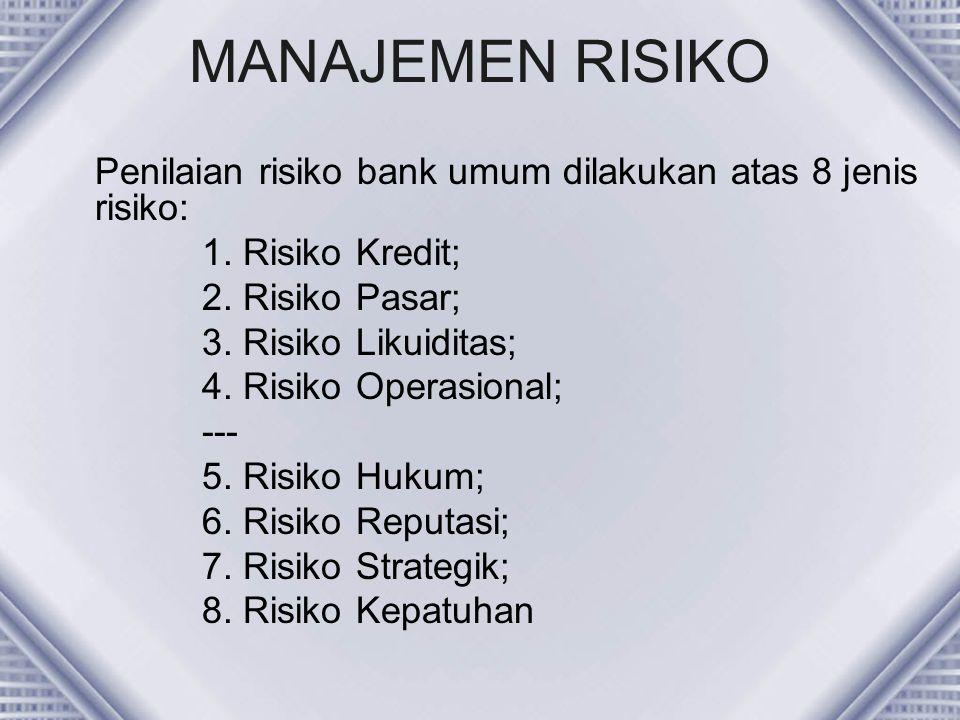 MANAJEMEN RISIKO Penilaian risiko bank umum dilakukan atas 8 jenis risiko: 1. Risiko Kredit; 2. Risiko Pasar;