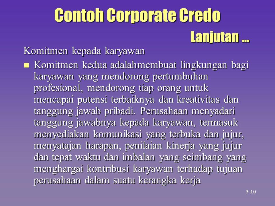 Contoh Corporate Credo Lanjutan ...