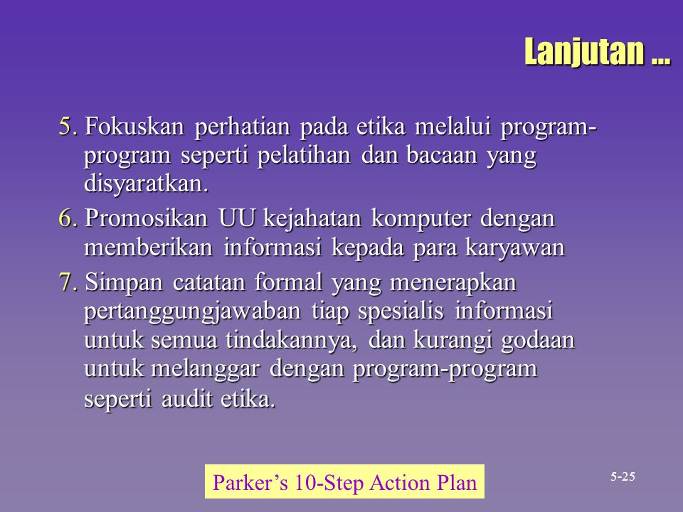 Parker's 10-Step Action Plan