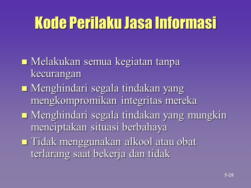 Kode Perilaku Jasa Informasi