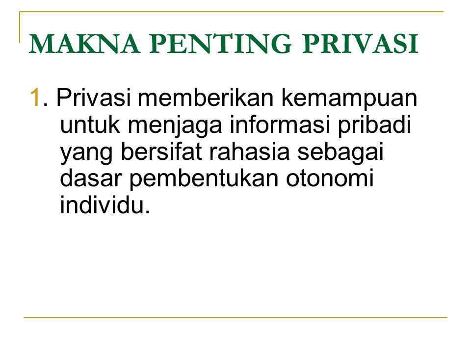 MAKNA PENTING PRIVASI