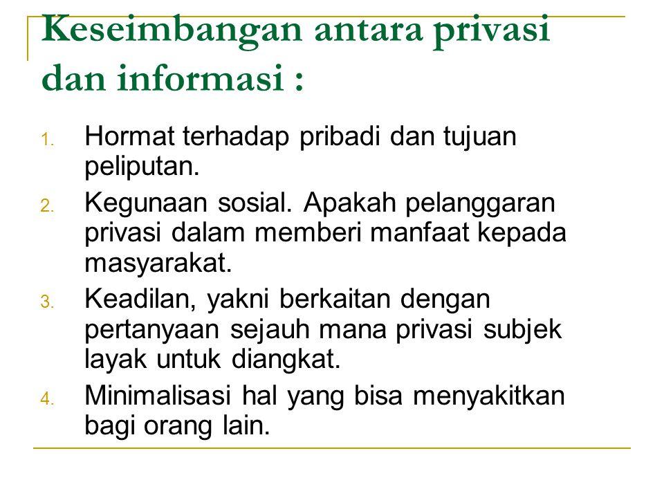 Keseimbangan antara privasi dan informasi :