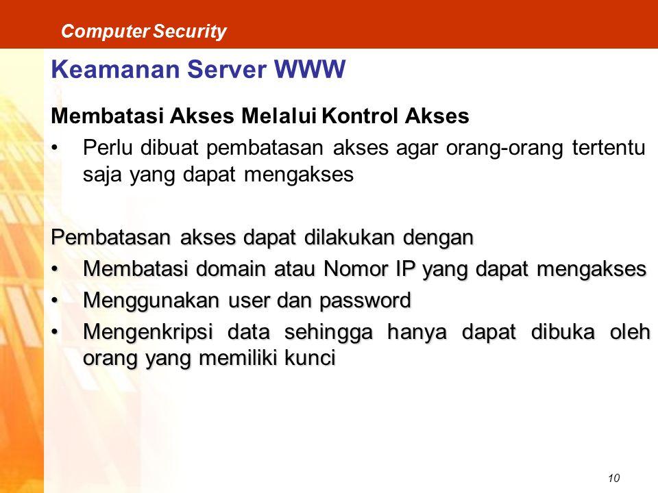 Keamanan Server WWW Membatasi Akses Melalui Kontrol Akses