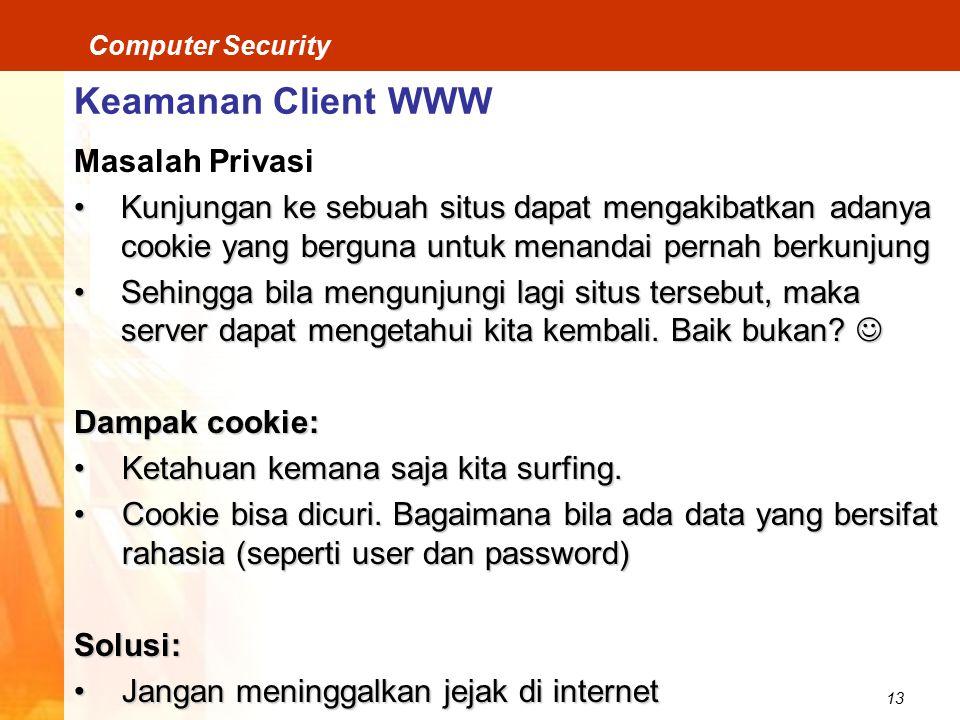 Keamanan Client WWW Masalah Privasi