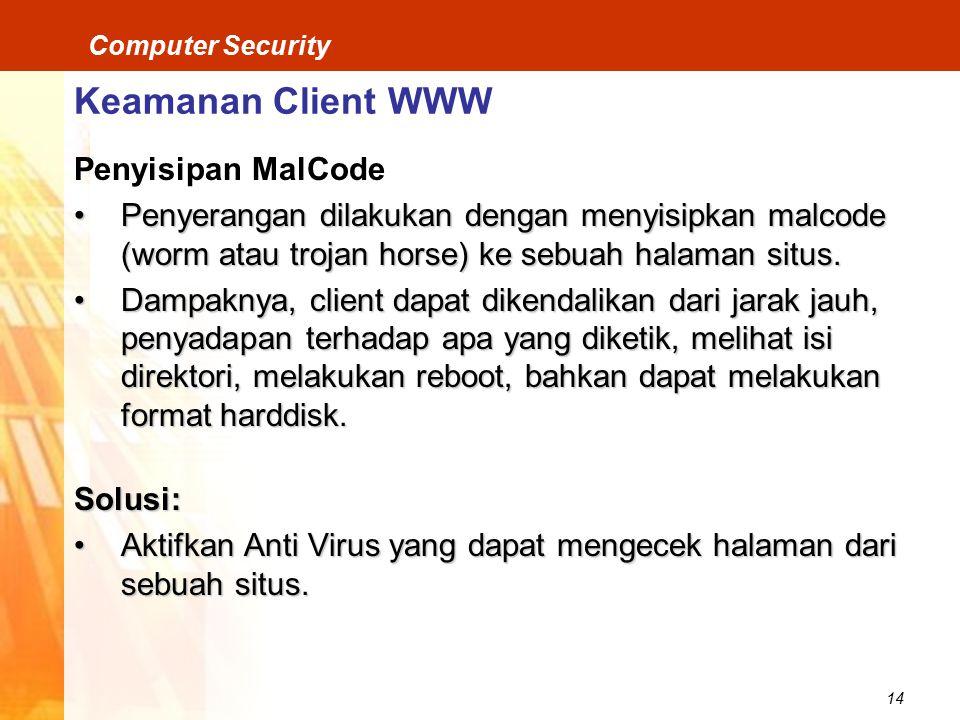 Keamanan Client WWW Penyisipan MalCode