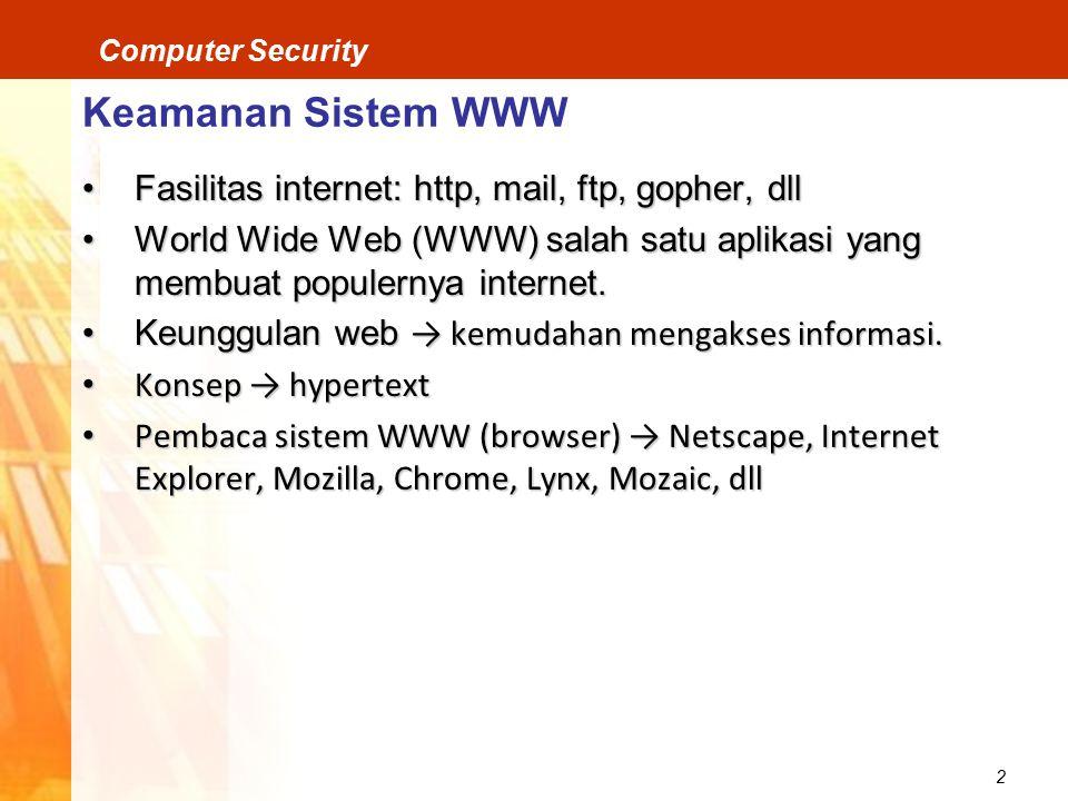 Keamanan Sistem WWW Fasilitas internet: http, mail, ftp, gopher, dll