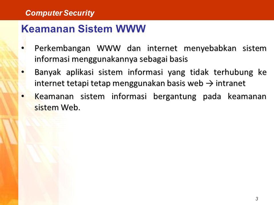 Keamanan Sistem WWW Perkembangan WWW dan internet menyebabkan sistem informasi menggunakannya sebagai basis.